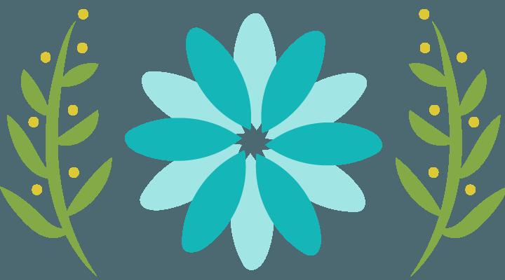 teal flower logo